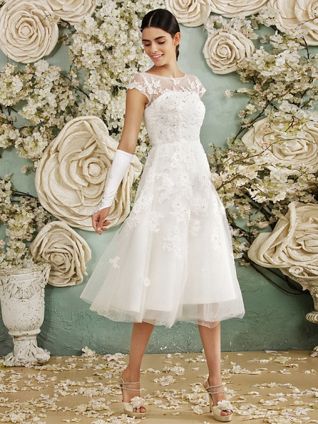A-Line Wedding Dresses Scoop Neck Tea Length Lace Over Tulle Cap Sleeve Vintage Little White Dress Illusion Detail 1950s_7