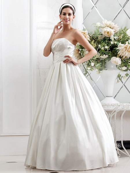 Princess A-Line Wedding Dresses Strapless Sweep \ Brush Train Satin Sleeveless_7