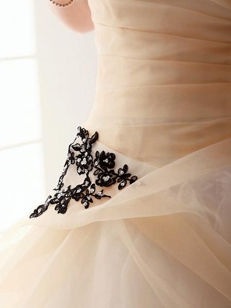 Princess A-Line Wedding Dresses Strapless Floor Length Organza Sleeveless Wedding Dress in Color_3