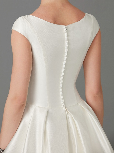 Princess Wedding Dresses Bateau Neck Court Train Satin Short Sleeve_10