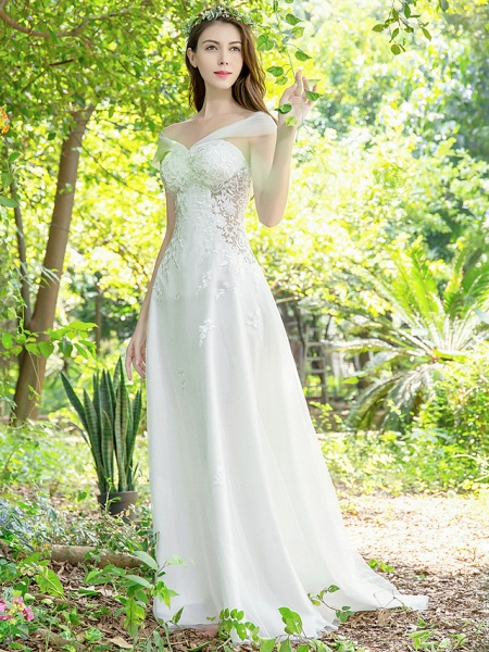 A-Line Wedding Dresses V Neck Court Train Lace Tulle Sleeveless_3