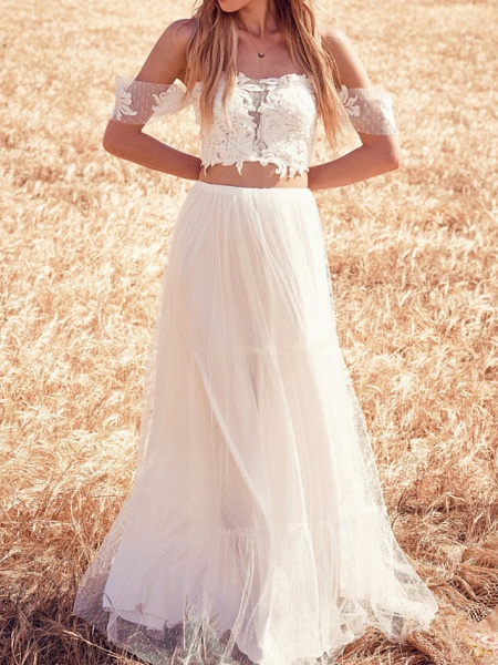 Two Piece Wedding Dresses Off Shoulder Sweep \ Brush Train Tulle Short Sleeve Beach_1