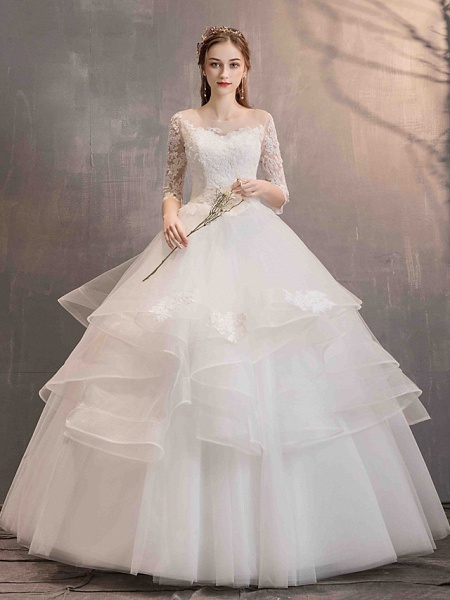 Ball Gown Wedding Dresses Jewel Neck Floor Length Lace Tulle Half Sleeve Glamorous See-Through Backless Illusion Sleeve_3