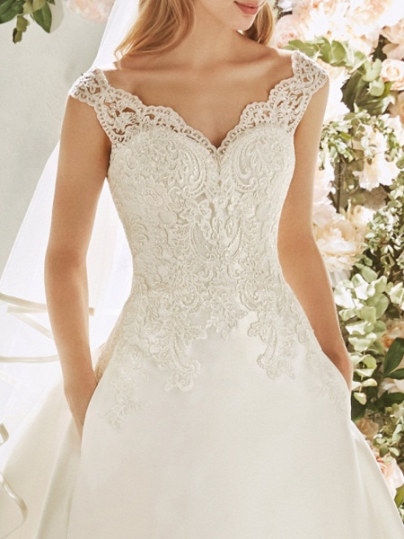 A-Line Wedding Dresses V Neck Sweep \ Brush Train Lace Tulle Cap Sleeve Vintage Sexy Wedding Dress in Color Backless_3