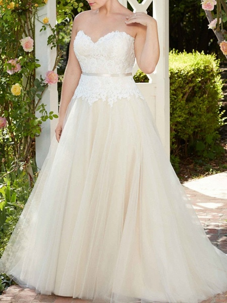 A-Line Wedding Dresses Sweetheart Neckline Court Train Tulle Sleeveless Country Wedding Dress in Color_4