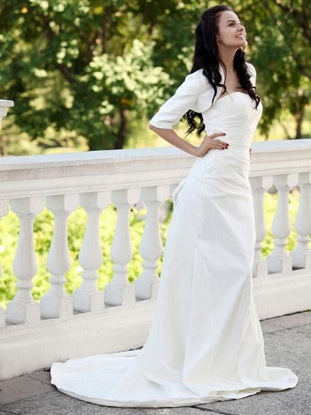 Mermaid \ Trumpet Wedding Dresses Strapless Court Train Taffeta Short Sleeve_2