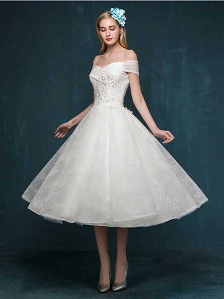 A-Line Wedding Dresses Off Shoulder Tea Length Beaded Lace Short Sleeve Casual Vintage Plus Size Cute_2