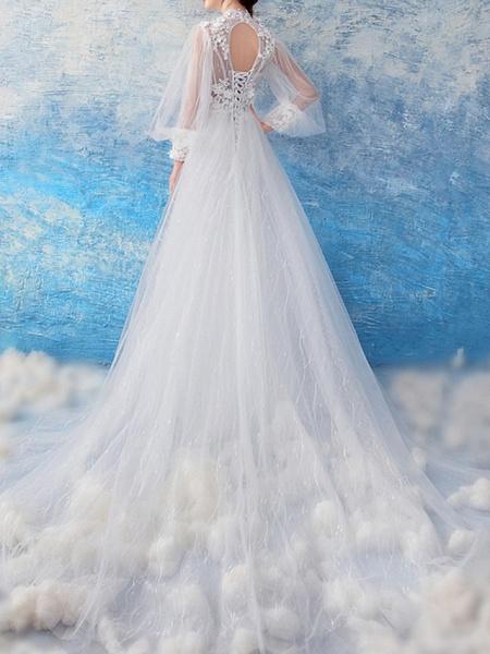 Mermaid \ Trumpet Wedding Dresses Jewel Neck Court Train Chiffon Tulle Long Sleeve Formal Illusion Detail Plus Size_2