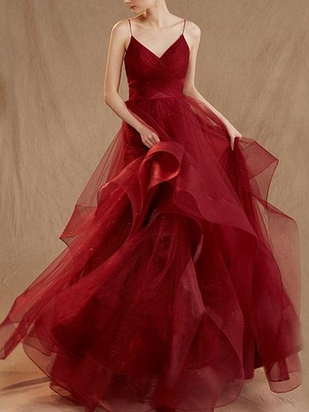 A-Line Wedding Dresses V Neck Floor Length Tulle Sleeveless Romantic Plus Size Red_3
