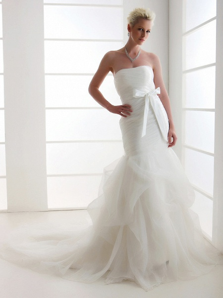 Mermaid \ Trumpet Wedding Dresses Strapless Court Train Organza Satin Sleeveless_5