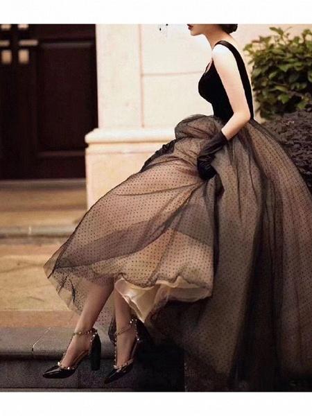 A-Line Wedding Dresses V Neck Floor Length Lace Long Sleeve Formal Black_3