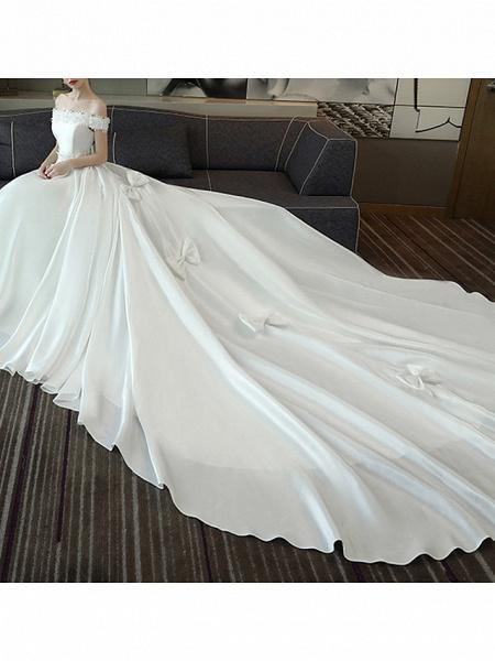 A-Line Wedding Dresses Off Shoulder Court Train Satin Short Sleeve Romantic Plus Size Red_3