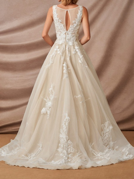 Mermaid \ Trumpet Jewel Neck Chapel Train Lace Sleeveless Formal Wedding Dresses_6