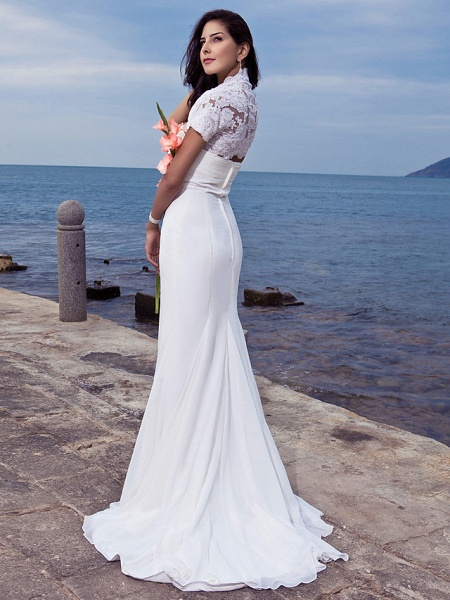Mermaid \ Trumpet Wedding Dresses Strapless Sweep \ Brush Train Chiffon Short Sleeve Vintage Separate Bodies_4