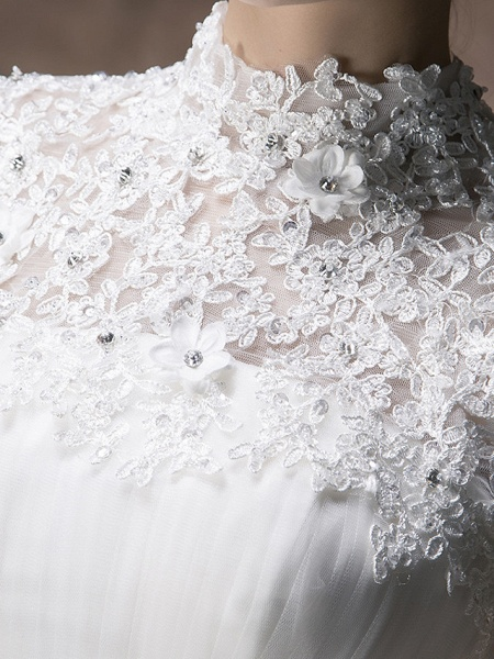 Ball Gown A-Line Wedding Dresses High Neck Floor Length Lace Tulle Cap Sleeve_3