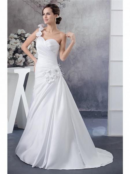 A-Line Wedding Dresses One Shoulder Court Train Satin Spaghetti Strap_2