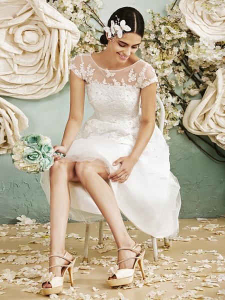 A-Line Wedding Dresses Scoop Neck Tea Length Lace Over Tulle Cap Sleeve Vintage Little White Dress Illusion Detail 1950s_6