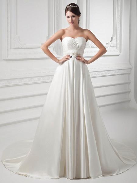 A-Line Sweetheart Neckline Court Train Satin Strapless Wedding Dresses_1