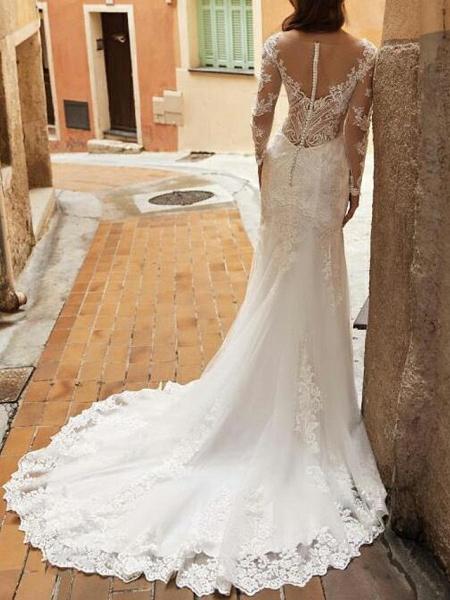 Mermaid \ Trumpet Wedding Dresses V Neck Sweep \ Brush Train Tulle Polyester Long Sleeve Country Plus Size Illusion Sleeve_3