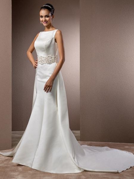 Mermaid \ Trumpet Wedding Dresses Bateau Neck Cathedral Train Satin Regular Straps Vintage Inspired_3