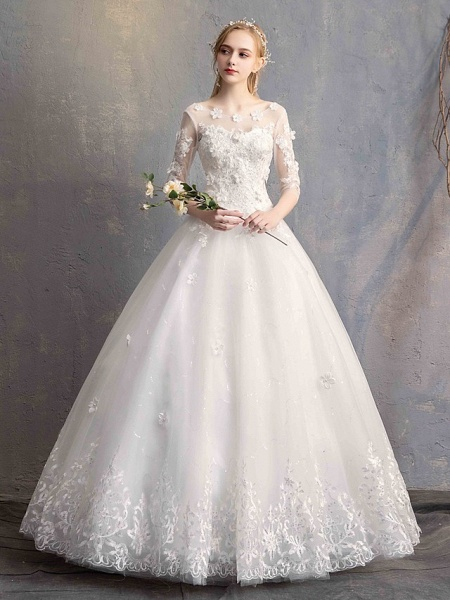 Ball Gown Wedding Dresses Scoop Neck Floor Length Lace Tulle Lace Over Satin Half Sleeve Country Vintage Illusion Sleeve_2