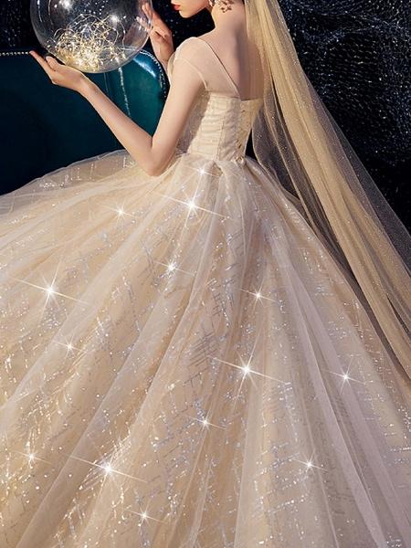 A-Line Wedding Dresses Jewel Neck Sweep \ Brush Train Lace Short Sleeve_4