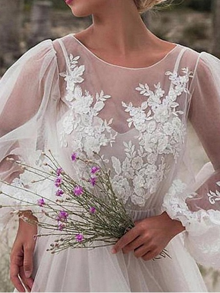 A-Line Wedding Dresses Jewel Neck Floor Length Tulle Long Sleeve Romantic Beach Boho See-Through Illusion Sleeve_3