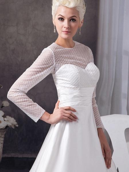 A-Line Wedding Dresses Jewel Neck Court Train Satin Tulle 3\4 Length Sleeve Illusion Sleeve_4