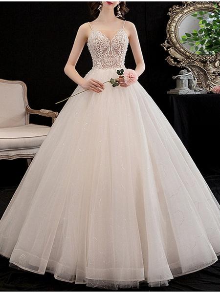 A-Line Wedding Dresses V Neck Floor Length Lace Spaghetti Strap_1