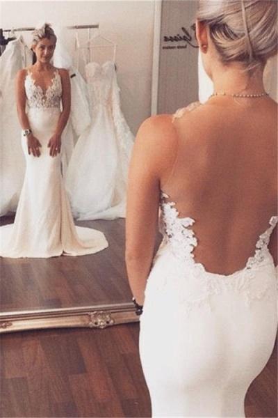 Mermaid Wedding Dress Sleeveless Lace summer Beach Wedding Gowns_1