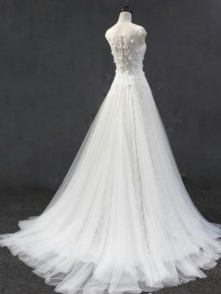 A-Line Jewel Neck Court Train Lace Tulle Short Sleeve Wedding Dresses_3