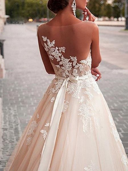 A-Line Wedding Dresses Jewel Neck Sweep \ Brush Train Lace Tulle Sleeveless Formal Sexy See-Through_3
