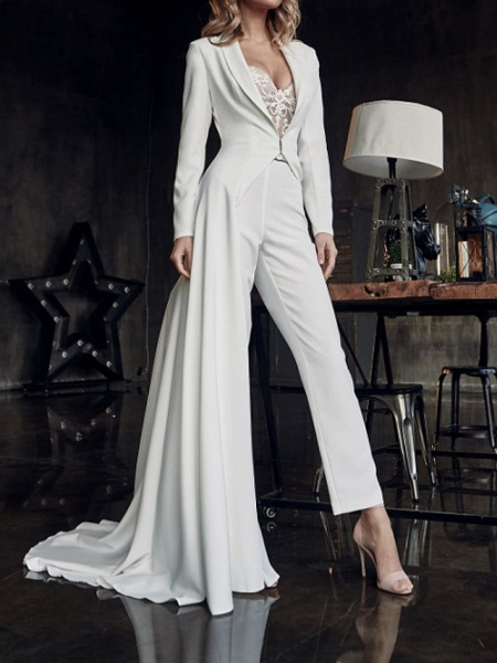 Two Piece Jumpsuits Wedding Dresses V Neck Sweep \ Brush Train Stretch Satin Long Sleeve Country Plus Size_1