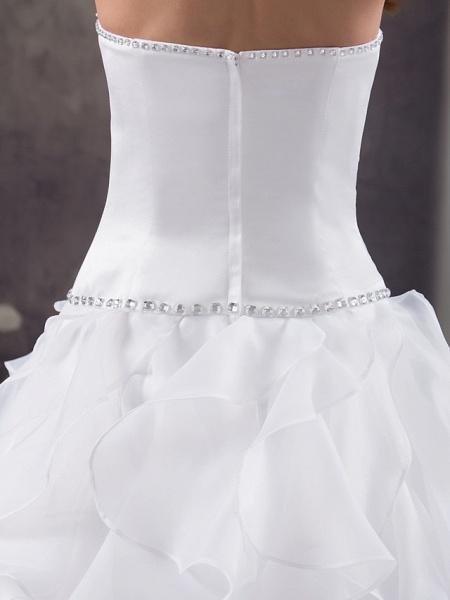 A-Line Strapless Court Train Organza Satin Strapless Wedding Dresses_5