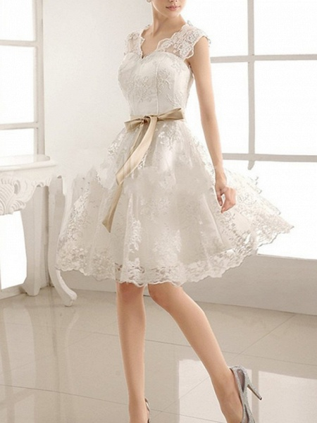 A-Line Wedding Dresses V Neck Knee Length Lace Sleeveless Vintage Little White Dress 1950s_2