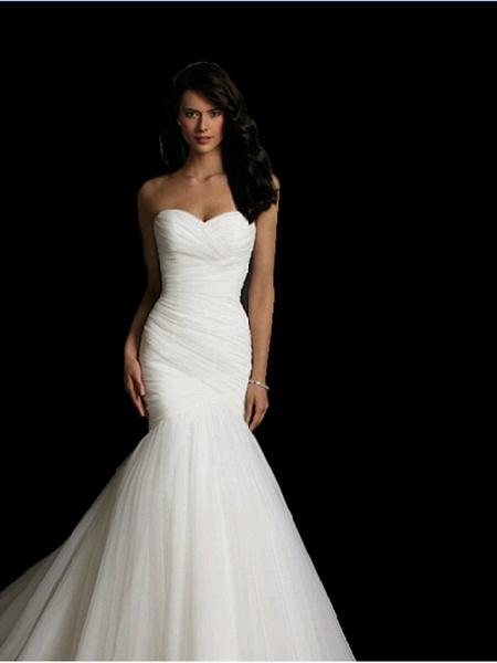 Mermaid \ Trumpet Sweetheart Neckline Court Train Tulle Strapless Simple Sexy Little White Dress Wedding Dresses_2