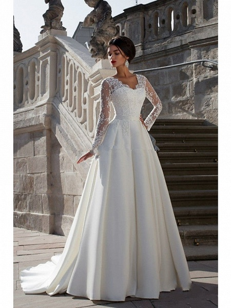 A-Line Wedding Dresses Strapless Court Train Lace Satin Long Sleeve Formal_1