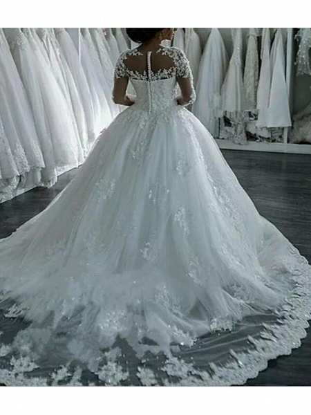 A-Line Wedding Dresses Jewel Neck Sweep \ Brush Train Lace Tulle Long Sleeve Formal Casual Plus Size Illusion Sleeve_2