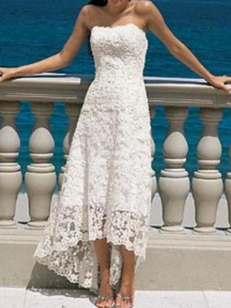 A-Line Wedding Dresses Strapless Asymmetrical Lace Strapless Beach Illusion Detail_1