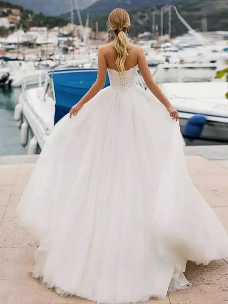 Ball Gown Wedding Dresses Strapless Sweep \ Brush Train Lace Tulle Strapless Sexy Plus Size_4