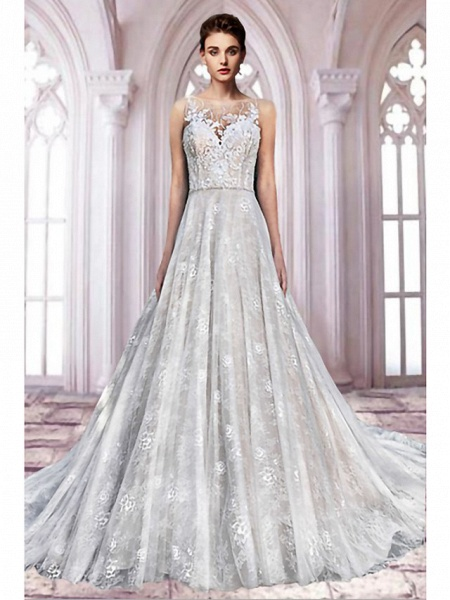 A-Line Jewel Neck Sweep \ Brush Train Lace Tulle Sleeveless Formal Sexy See-Through Wedding Dresses_1