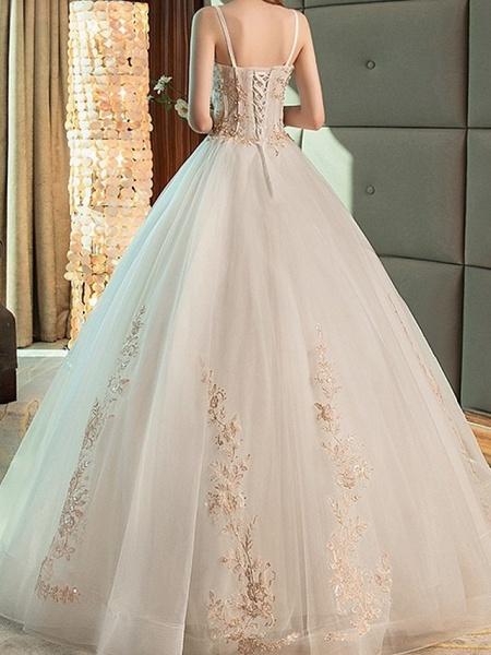 A-Line Wedding Dresses Strapless Floor Length Lace Sleeveless Beach_2