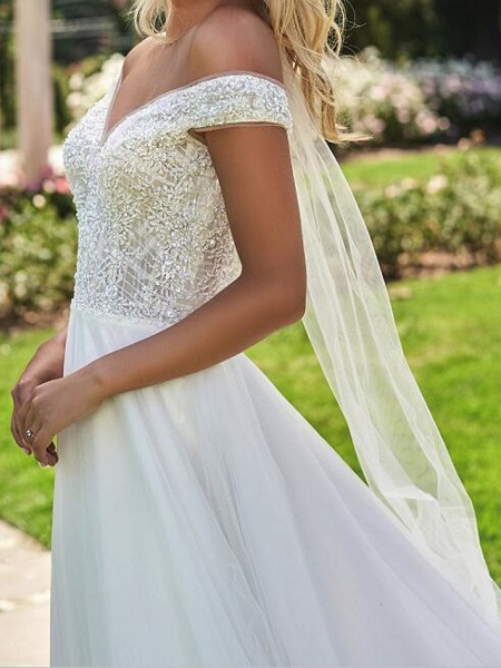 A-Line Off Shoulder Sweep \ Brush Train Lace Tulle Cap Sleeve Country Plus Size Wedding Dresses_3