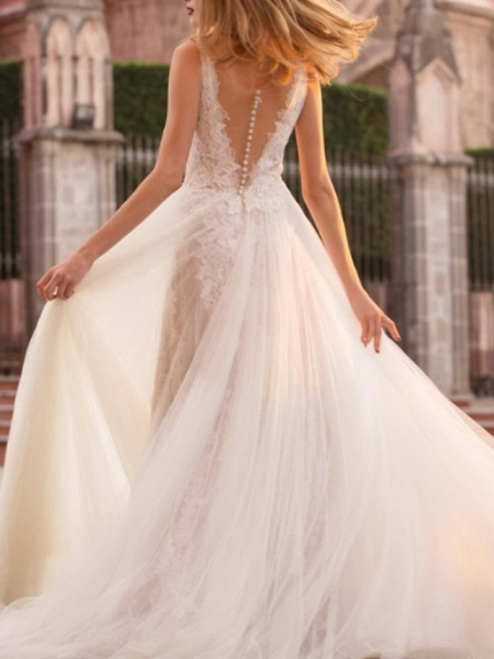 A-Line Wedding Dresses Court Train Lace Tulle Regular Straps_2