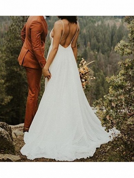 A-Line Wedding Dresses V Neck Sweep \ Brush Train Polyester Spaghetti Strap Formal Plus Size_3