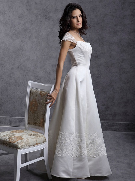 Lt47889 Lace Appliques Boho Beach Wedding Dress_5
