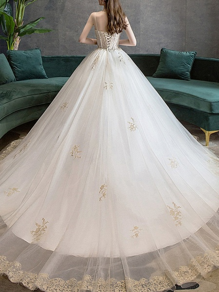 Ball Gown Wedding Dresses Sweetheart Neckline Court Train Polyester Spaghetti Strap_3