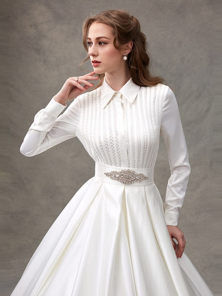 Ball Gown Wedding Dresses High Neck Sweep \ Brush Train Satin Long Sleeve Glamorous Sparkle & Shine_8