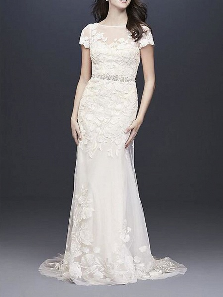 A-Line Wedding Dresses Jewel Neck Floor Length Polyester Short Sleeve Country Plus Size_1