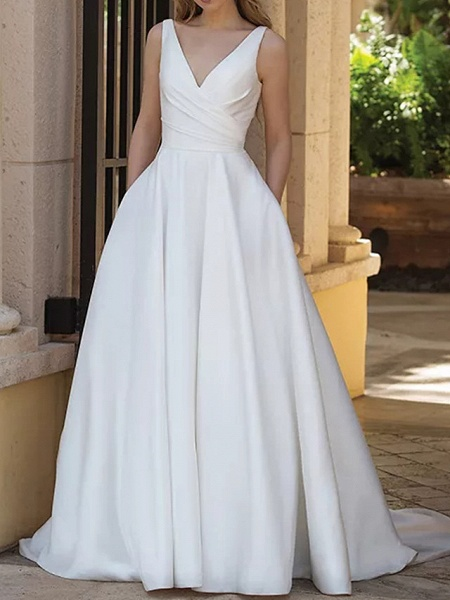 A-Line Wedding Dresses V Neck Sweep \ Brush Train Satin Sleeveless Country Plus Size_1